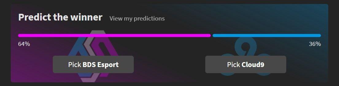 Example screenshot, showing predictions for BDS Esport vs Cloud9